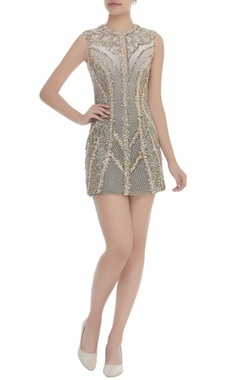 Dilnaz Karbhary Bugle Beads & Pearl Embroidered Dress