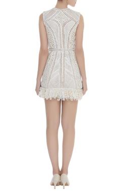 Crochet & Lace Fringe Corded Dress