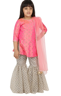 Sequin embroidered kurta with sharara and dupatta