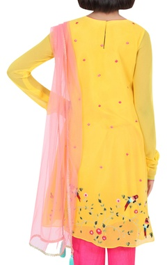 Asymmetric embroidered kurta with dhoti and dupatta
