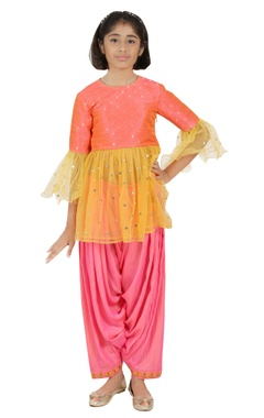 Sequin embroidered kurta with dhoti