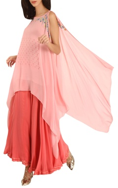 Asymmetric cape with inner & lehenga skirt
