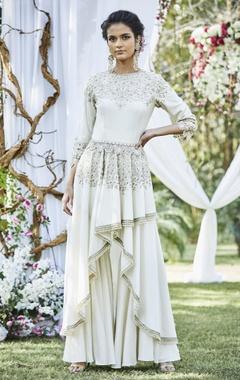 Varun Bahl Embroidered asymmetric kurta with sharara pants