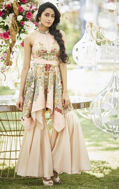 Floral print & embroidered asymmetric kurta with sharara