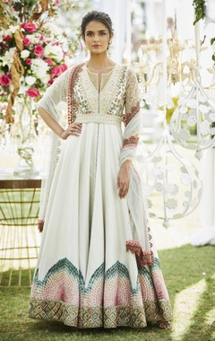 Embroidered anarkali jacket with lehenga & dupatta
