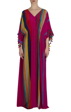 Striped kaftan maxi dress