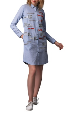 Thread work short shirt dress
