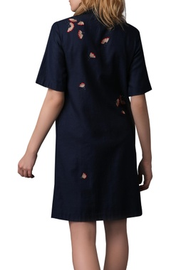 Thread embroidered short shirt dress