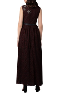 Star embellished gathered long dress