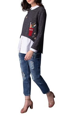 Pencil shaving embroidered sweatshirt with shirt