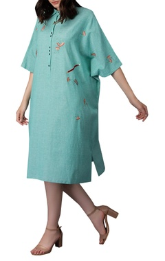 Pencil shaving embroidered kaftan dress