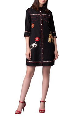 Love pill embroidered shirt dress