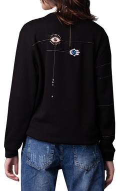 Evil eye embroidered sweatshirt