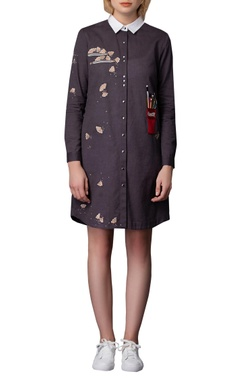 Embroidered short shirt dress