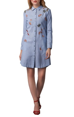 Pencil shaving embroidered shirt dress