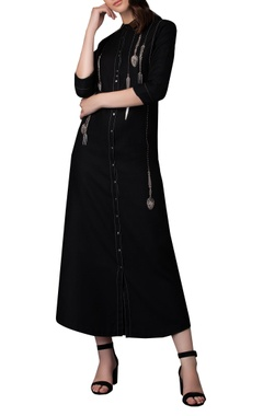 Hanging cutlery embroidery long shirt dress