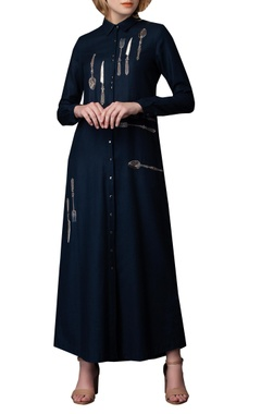 Cutlery embroidery long shirt dress