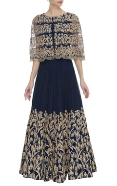 Aneesh Agarwaal Embroidered attached cape gown