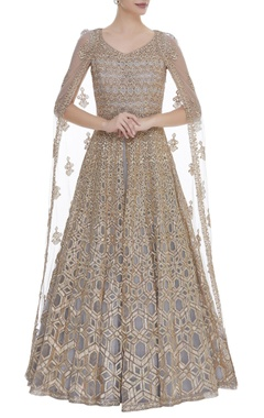 Aneesh Agarwaal Embroidered gown with flared sleeves