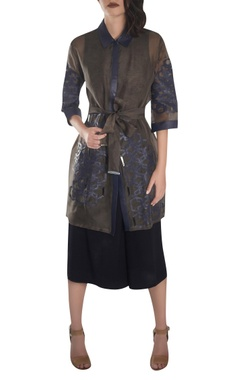 Trench coat dress with slip