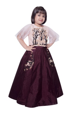 Lil Angels Deer & forest embroidered blouse with lehenga