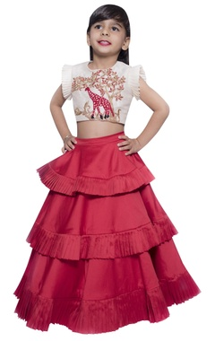 Lil Angels Giraffe embroidered blouse with layered lehenga