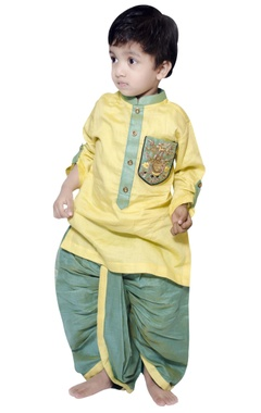 Lil Angels Owl embroidered kurta with draped dhoti