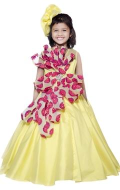 Lil Angels 3D floral embellished gown