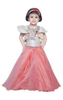 Lil Angels Embroidered blouse with pleated lehenga