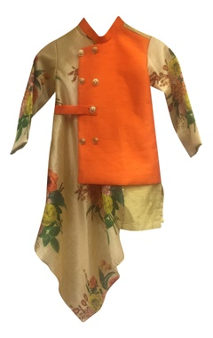 Floral print asymmetric draped nehru jacket