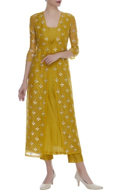 Sequin Embroidered Jacket With Kurta & Pants