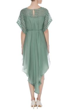 Applique embroidered midi dress