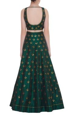 Deep Back Embroidered Blouse & Lehenga Set