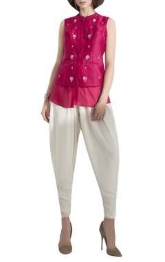 AM:PM Floral Embroidered Waist Coat blouse