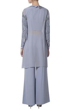 Fringed jacket kurta with pants