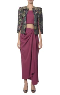 Platinoir Jacquard jacket with inner & draped skirt