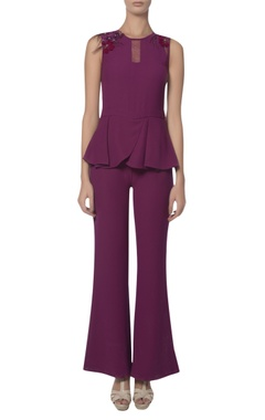 Platinoir Bead and feather embroidered shoulder peplum jumpsuit