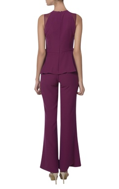 Bead and feather embroidered shoulder peplum jumpsuit