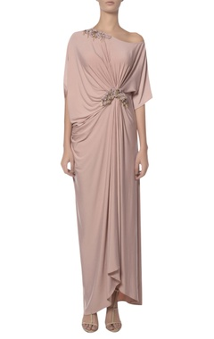 Platinoir Pearl embroidered draped one shoulder gown