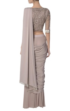 Pre-draped sari with embellished blouse