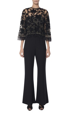 Platinoir Embroidered cape with off shoulder jumpsuit