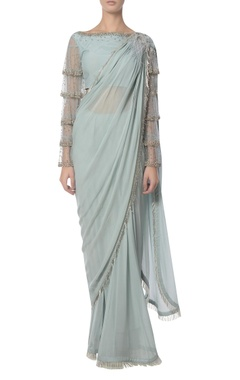 Platinoir Fringed feather sari with frilled blouse