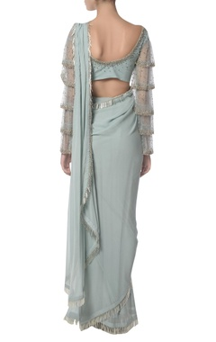 Fringed feather sari with frilled blouse