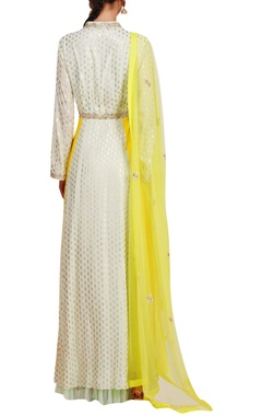 Embroidered & foil printed anarkali with churidar & dupatta