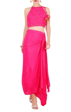 Nikasha Embroidered crop top with draped skirt
