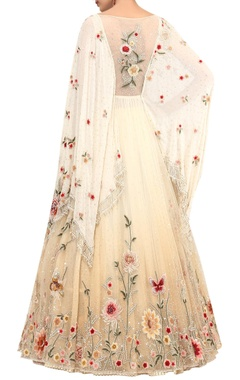 Crystal & Sequin Embroidered Cape Lehenga