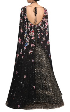 Sequin Embroidered Anarkali With Cape