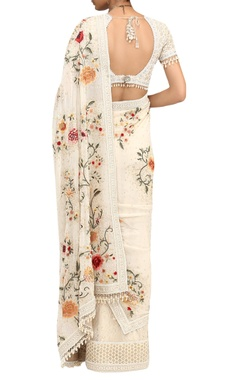 Gara Embroidered Saree With Fringe Blouse