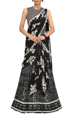 Tarun Tahiliani Sequin Embroidered Saree With Cut Out Blouse