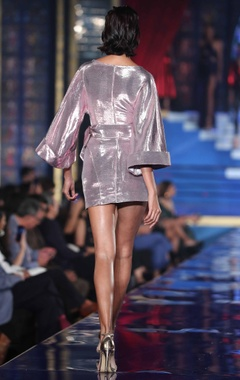 Two toned metallic kimono style dress